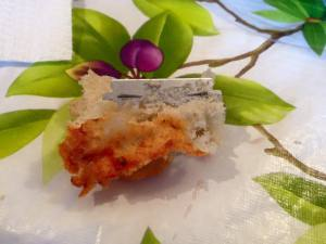 Glimpse of a razor blade allegedly found in store bought baguette in Pointe-Claire, Quebec.